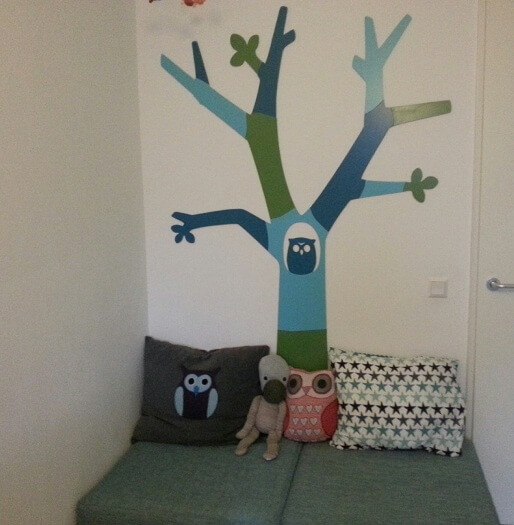 owls trees and forest as theme for childrens room nursery pillow