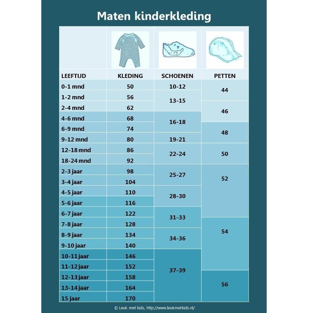 Een overzicht van alle kinderkledingmaten: kledingmaat en schoenmaat