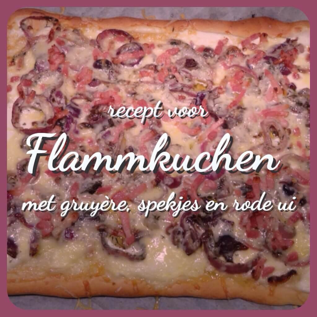 Recept voor Flammkuchen, een soort pizza
