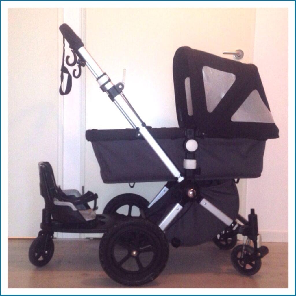 DIY duowagen: een veilig tweede zitje aan je kinderwagen maken van het Bugaboo meerijdplankje en een fietsstoeltje