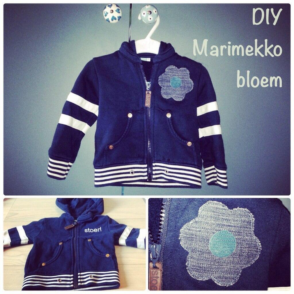 DIY Marimekko bloem applicatie. Van jongenskleding meisjeskleding maken: babykleding en kinderkleding vermaken: applicatie Marimekko