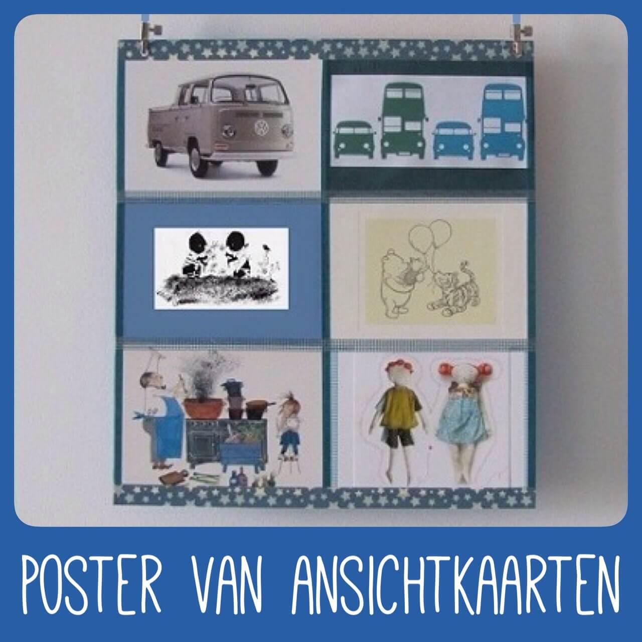 Een poster knutselen van je favoriete ansichtkaarten