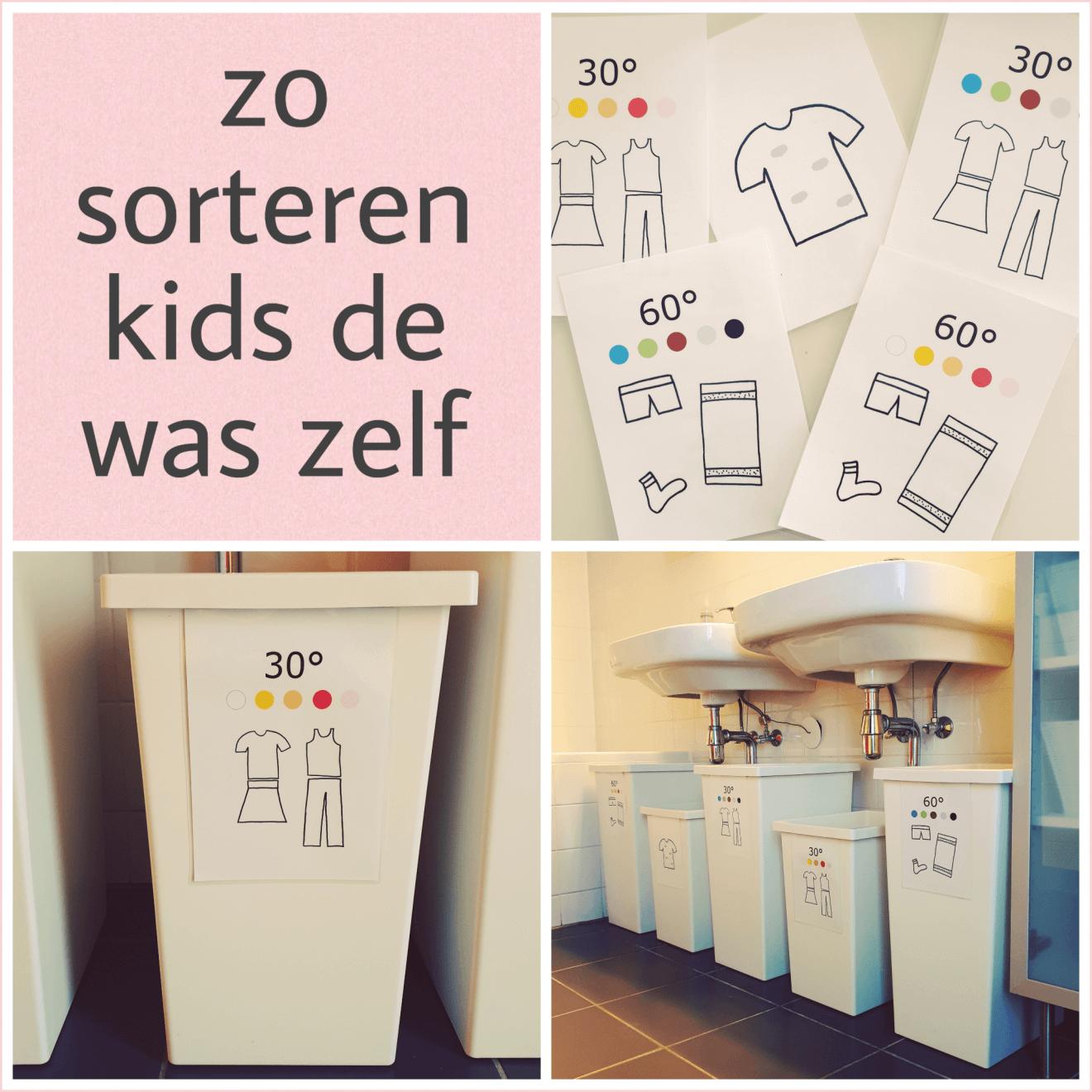 Organizing met kinderen: was sorteren in gemarkeerde wasmanden