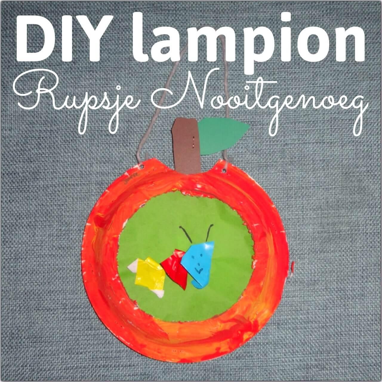 Mooie lantaarn of lampion voor Sint Maarten zelf maken Rupsje Nooitgenoeg knutselen - caterpillar lantern crafting diy