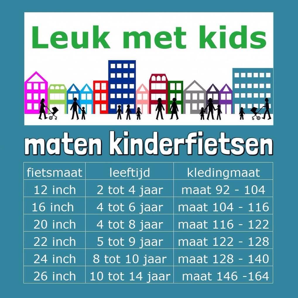maten kinderfietsen peuter kleuter schoolkind tiener kinderen