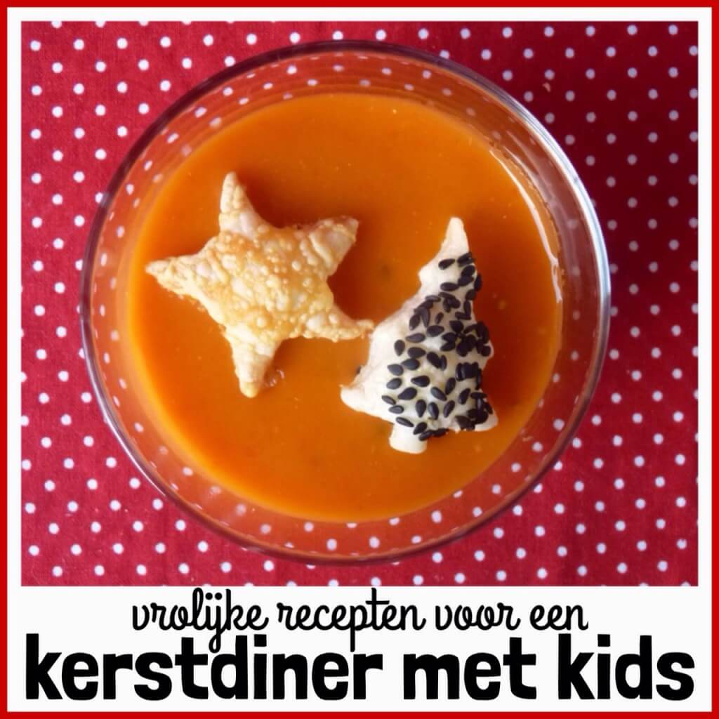 Vrolijk kerstdiner: recepten voor een kerstmenu met kinderen, Vooraf:Kerstsoep met bladerdeeghapjes