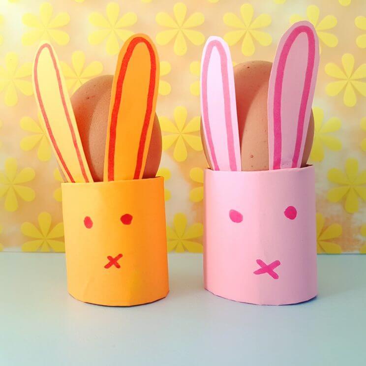 Knutselen voor Pasen: de leukste ideeën, eierdopje wc rol paashaas. Toilet paper easter egg