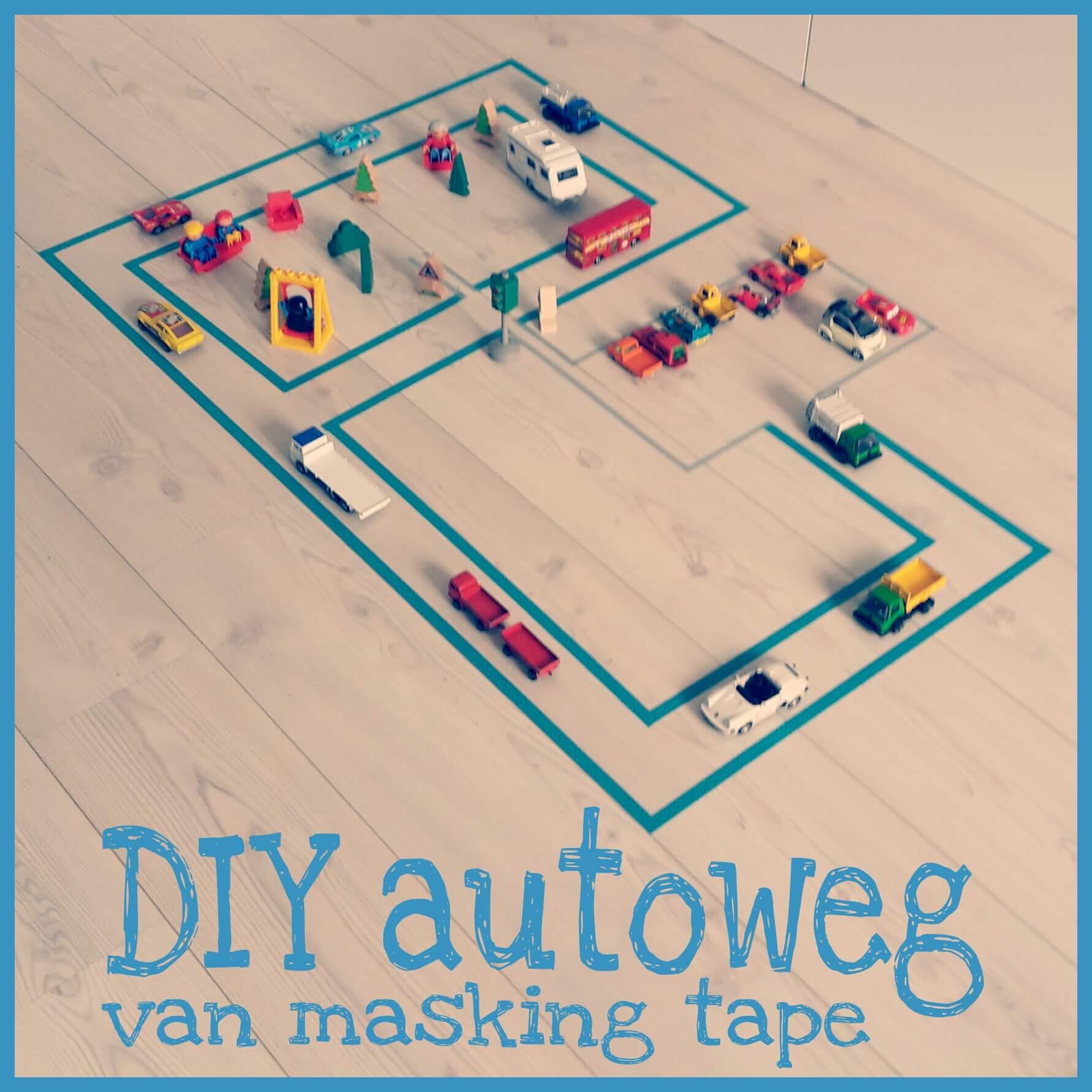 diy autoweg van masking tape leuk met kids. Black Bedroom Furniture Sets. Home Design Ideas
