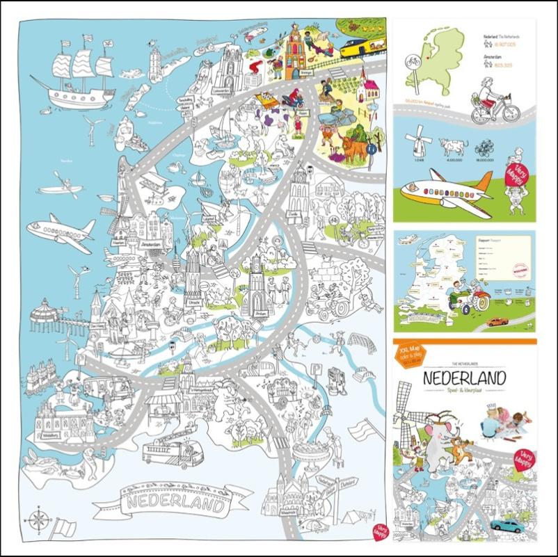 Super grote kleurplaten van Nederland en Amsterdam