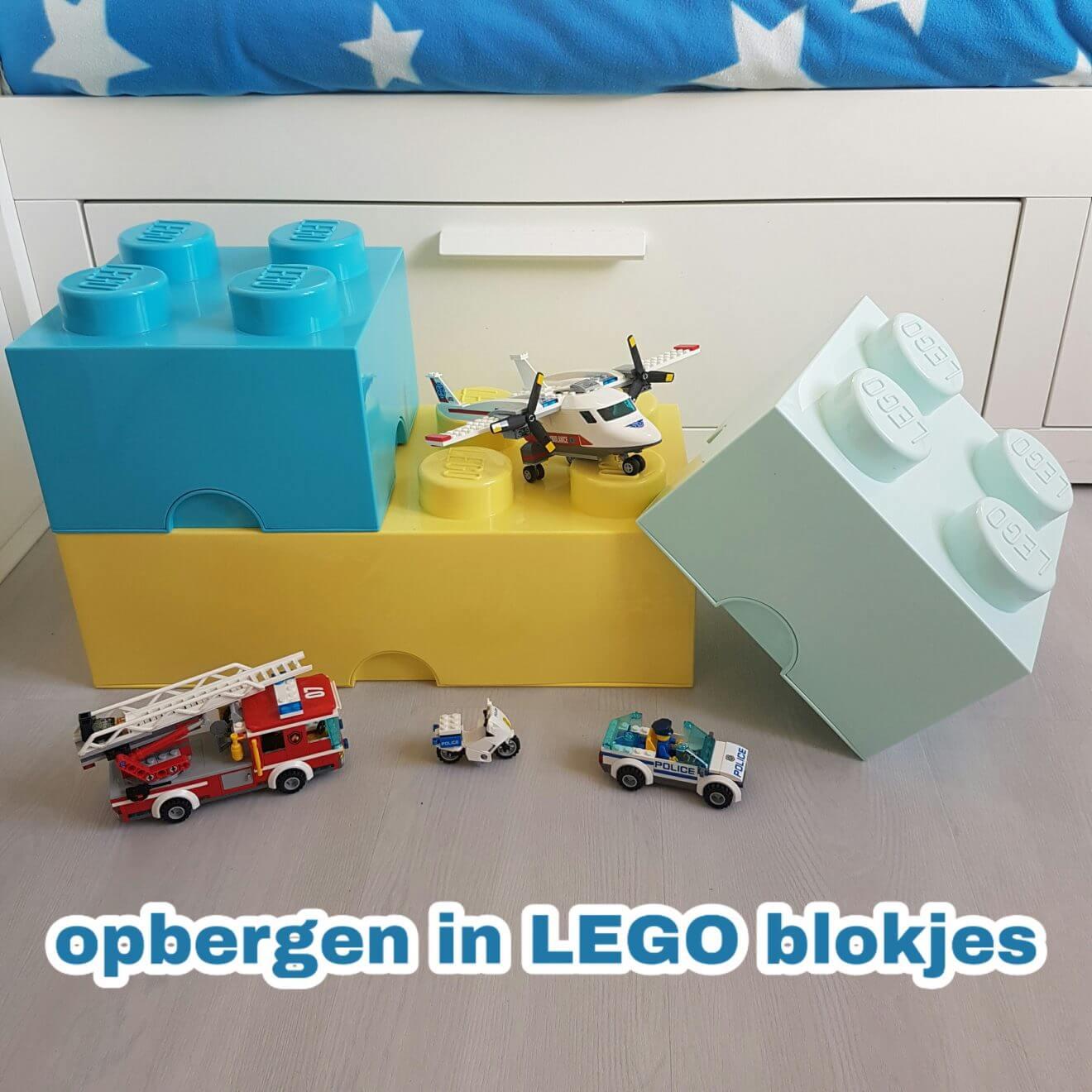 Opbergen in LEGO blokjes: van lunchbox tot grote opbergdoos
