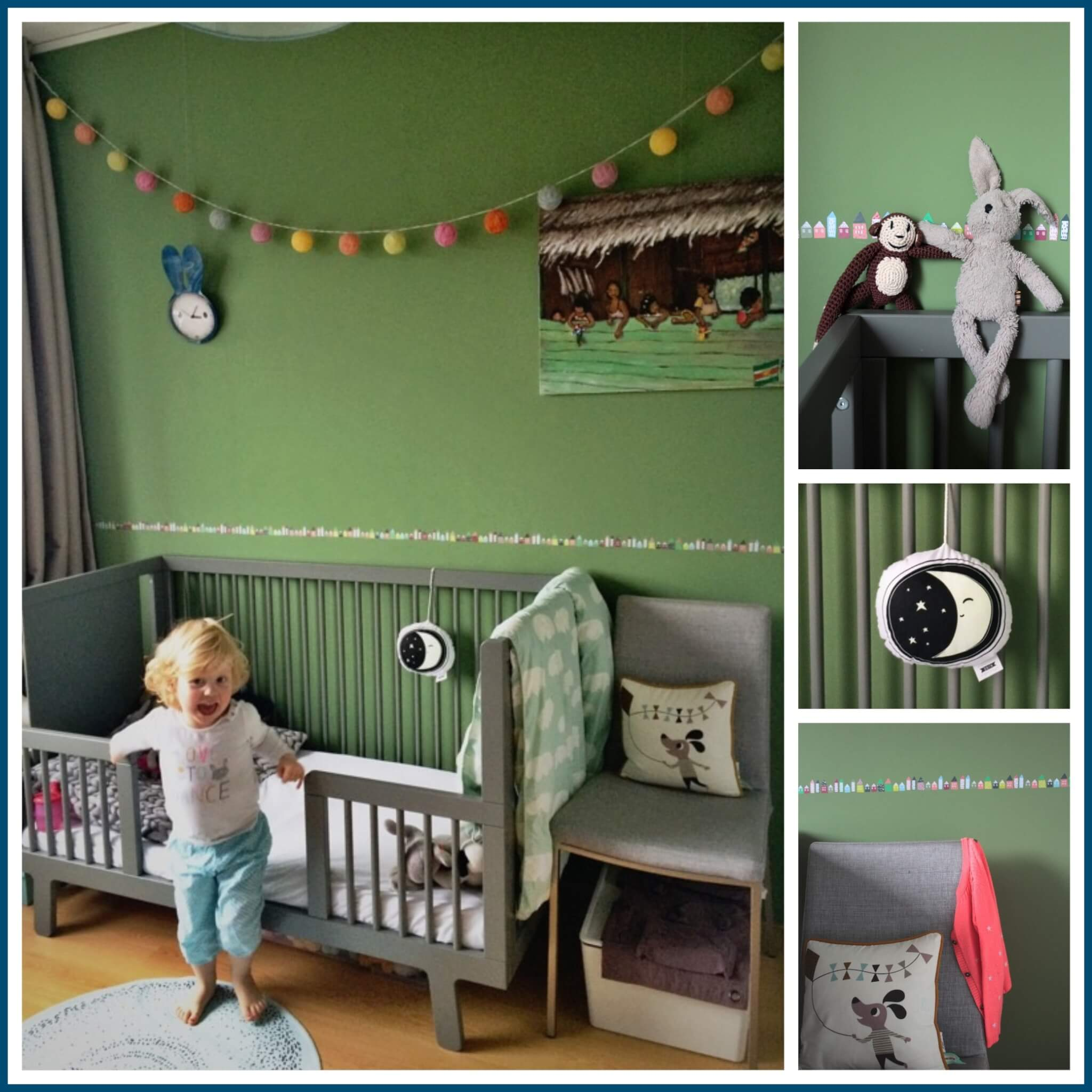 Kamer baby groen ontwerp - Grijs muurschildering ...