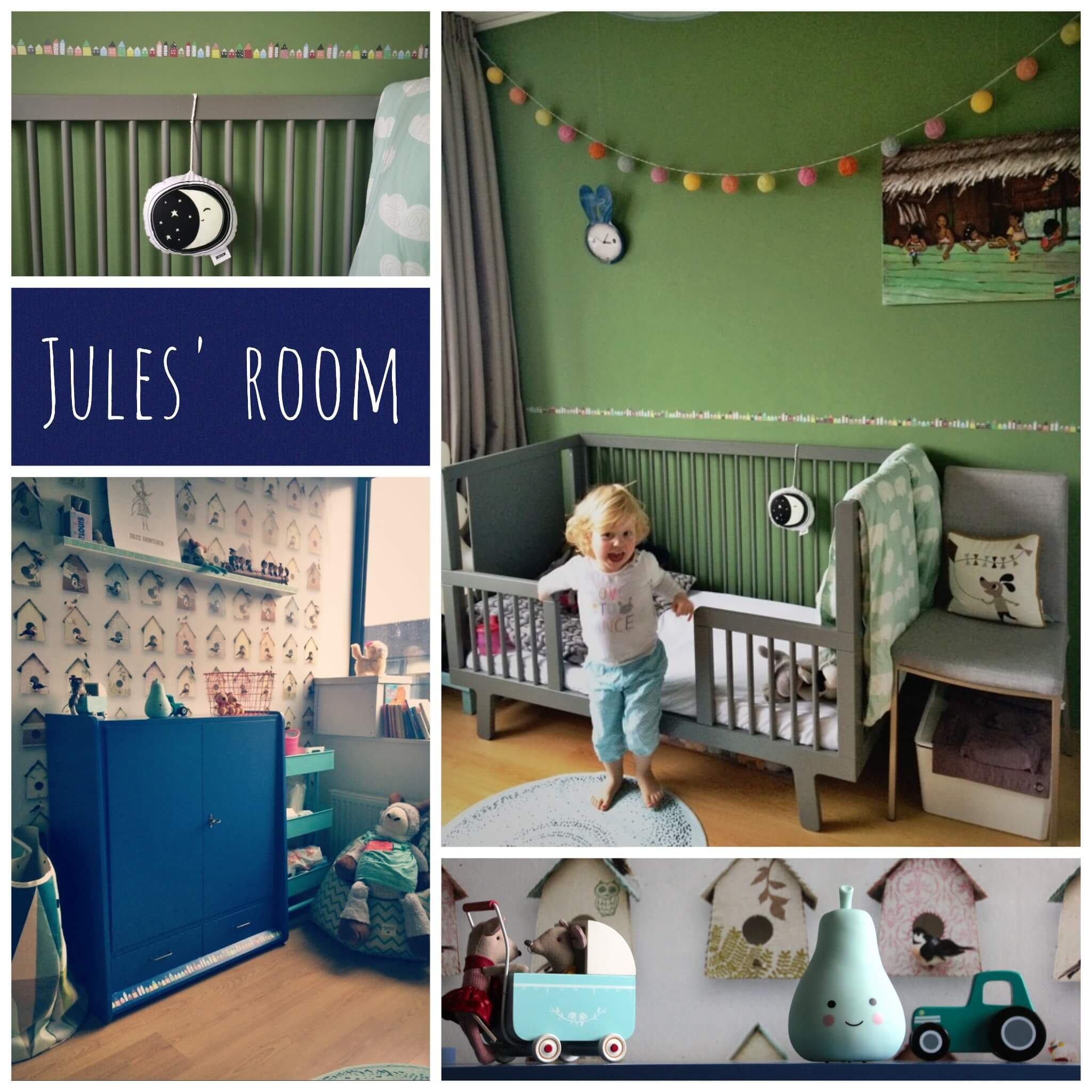: de kinderkamer van Jules, in mint, blauw, turkoois, geel, grijs ...