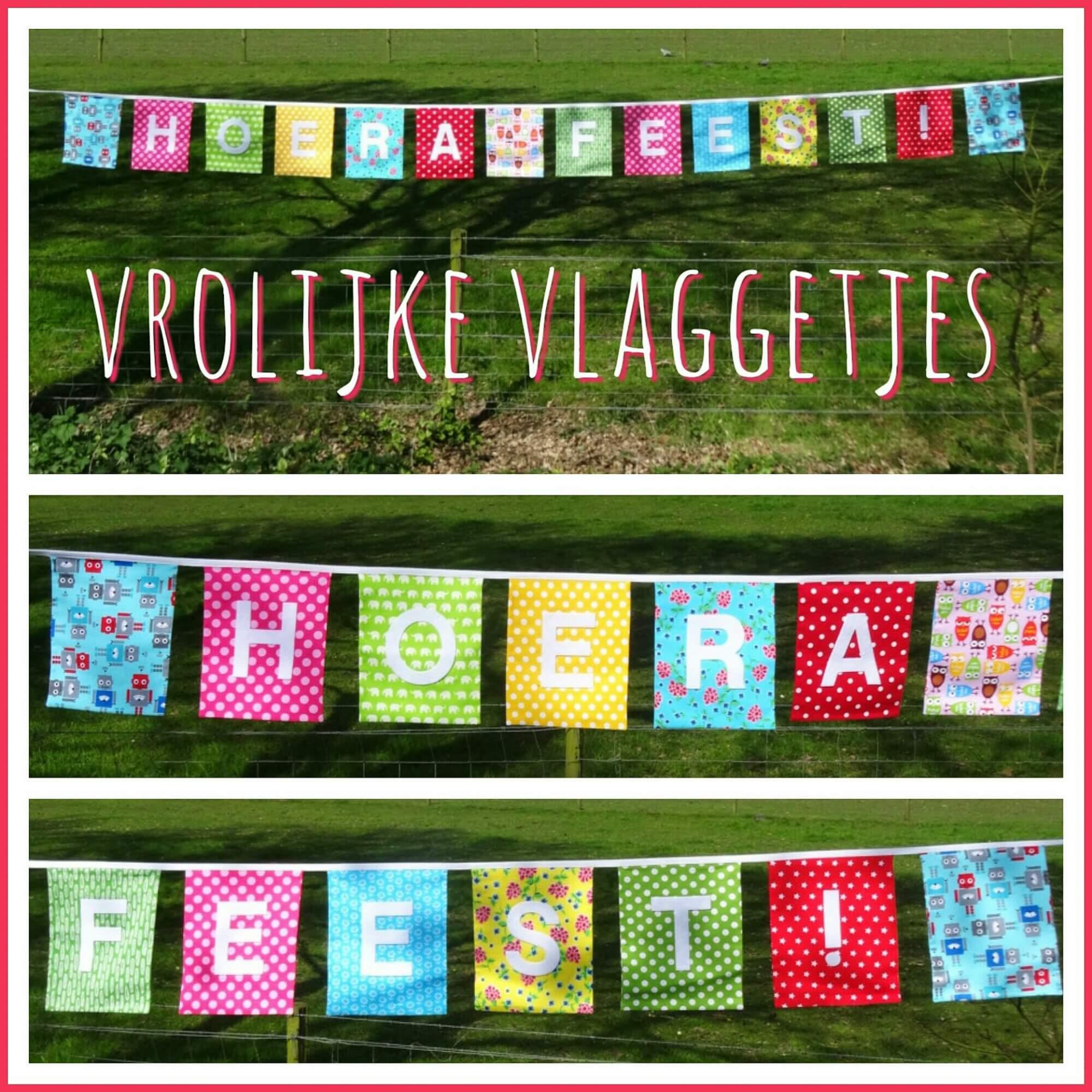 Vrolijke vlaggetjes met een persoonlijke tekst van Naamslingerfabriek.nl