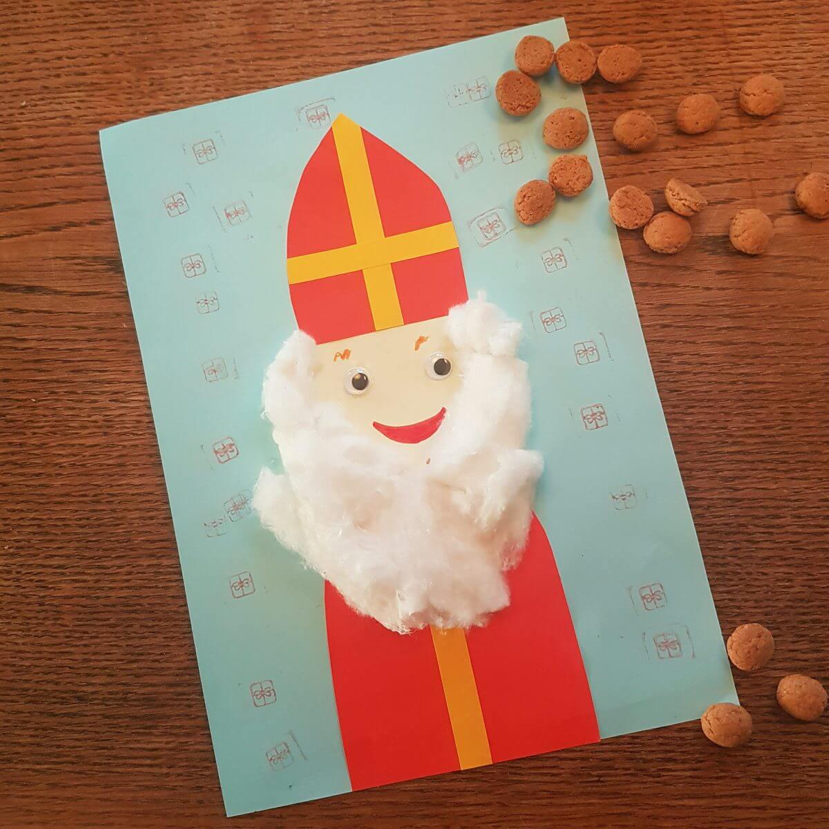 Sinterklaas met mijter en baard van watten: 101 ideeën om te knutselen