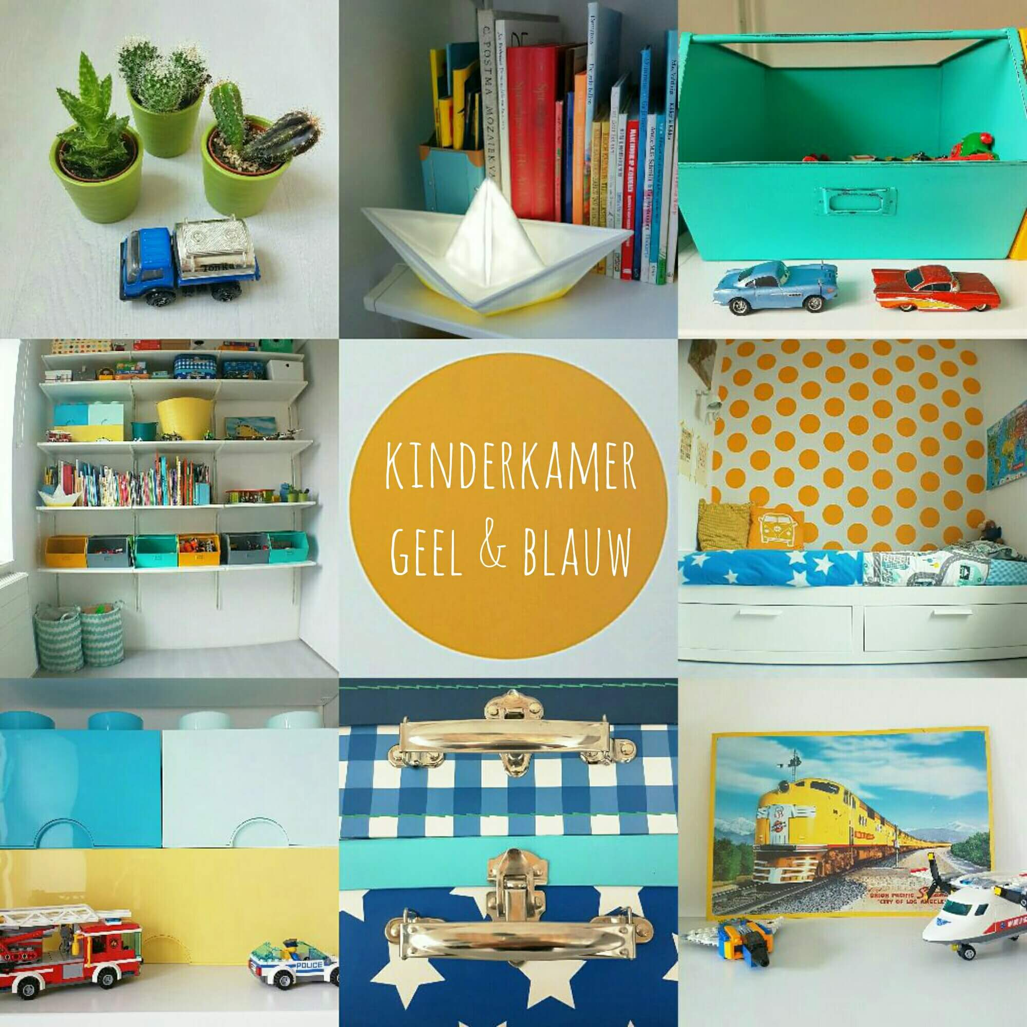 Kinderkamer in geel, blauw, turkoois, petrol, mint, groen, grijs en wit