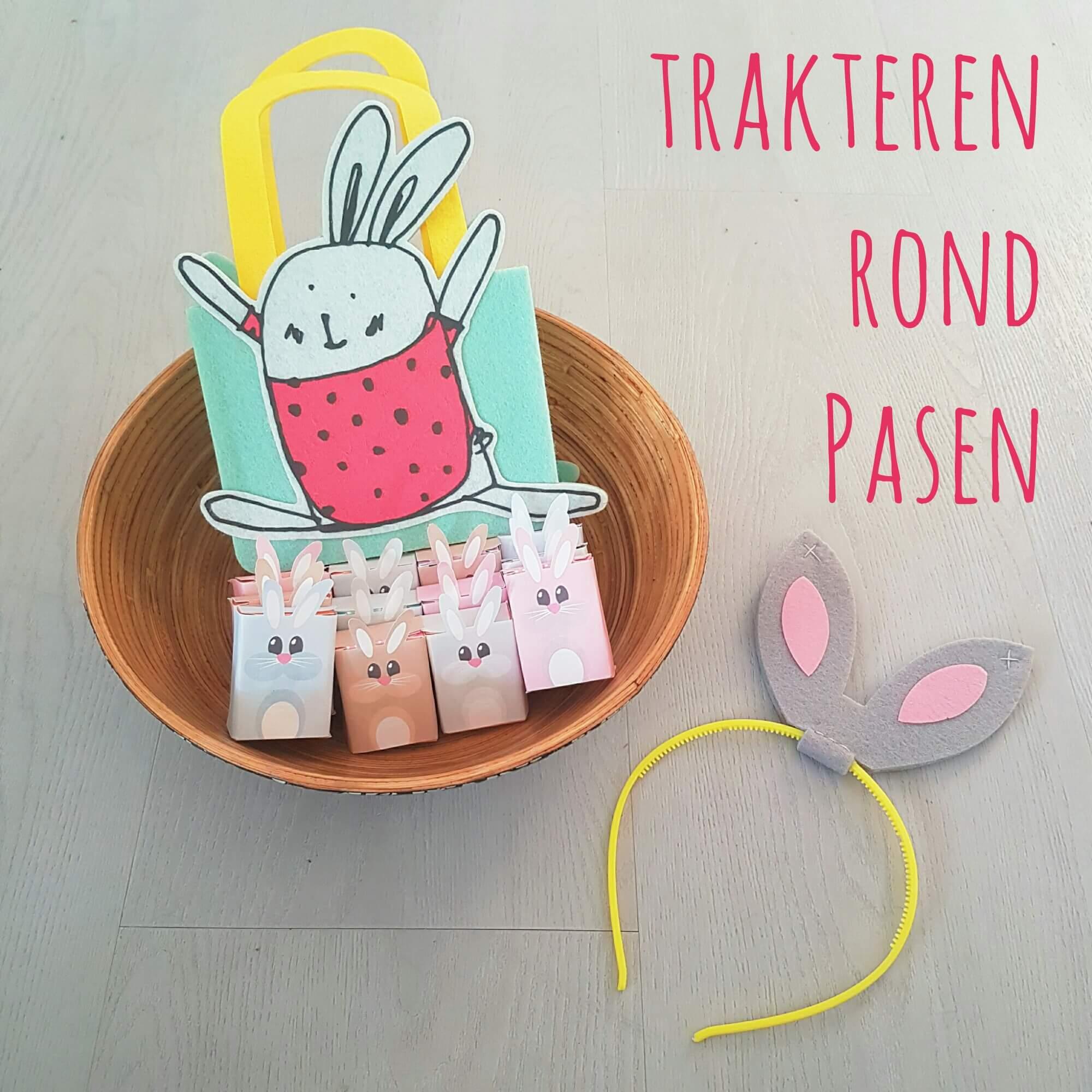 Trakteren rond Pasen op school of crèche - rozijnendoosjes konijntjes