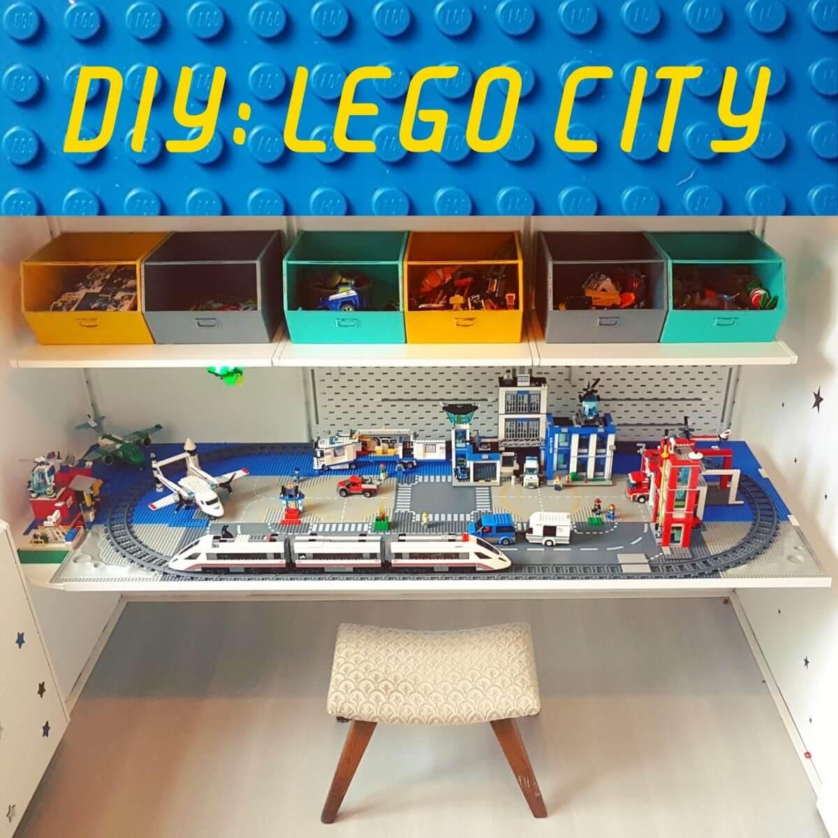 DIY: Lego City treintafel stad op bureau - train table lego desk