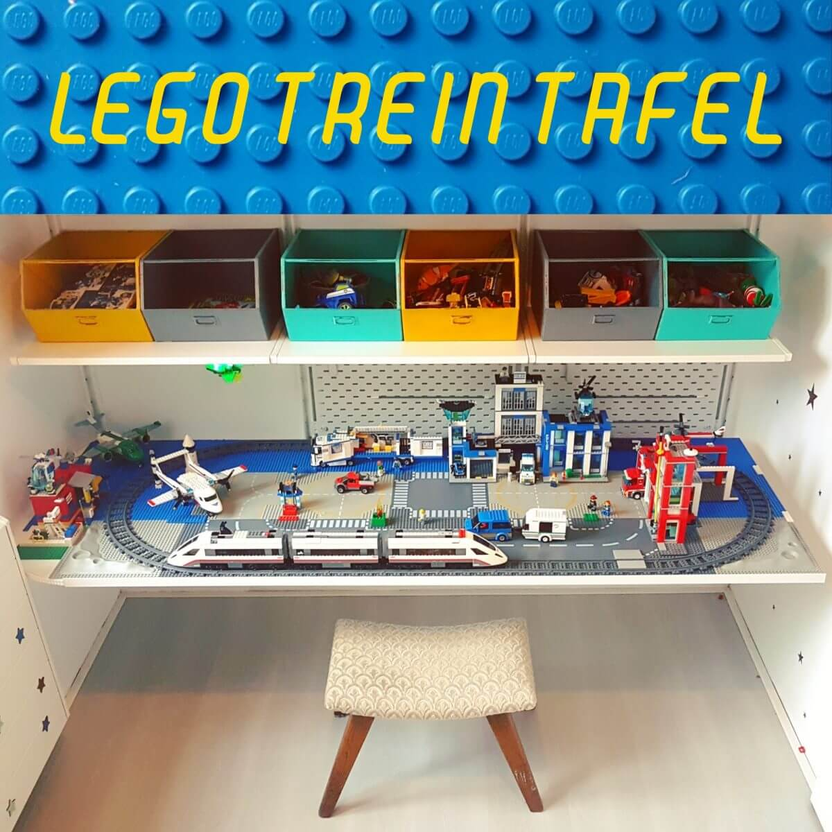 DIY - Lego City treintafel stad op bureau - train table lego desk