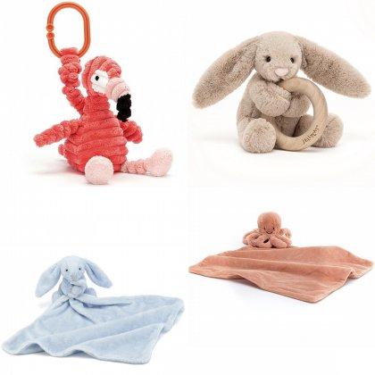 Jellycat knuffeldoekjes, bijtring en kinderwagenhangers