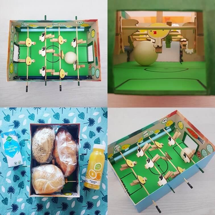 Paasdoos knutselen: de leukste ideeën voor het paasontbijt op school - voetbaltafel-schoenendoos met schapen en paaskuikens