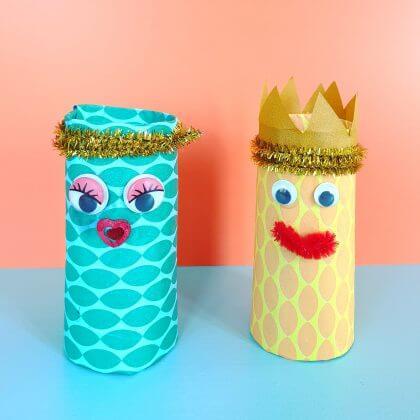 Knutselen voor Koningsdag en Oranje: koning en koningin van wc rollen