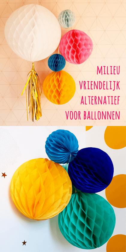 Milieuvriendelijk alternatief voor ballonnen: gekleurde papieren honeycomb bollen #leukmetkids #verjaardag