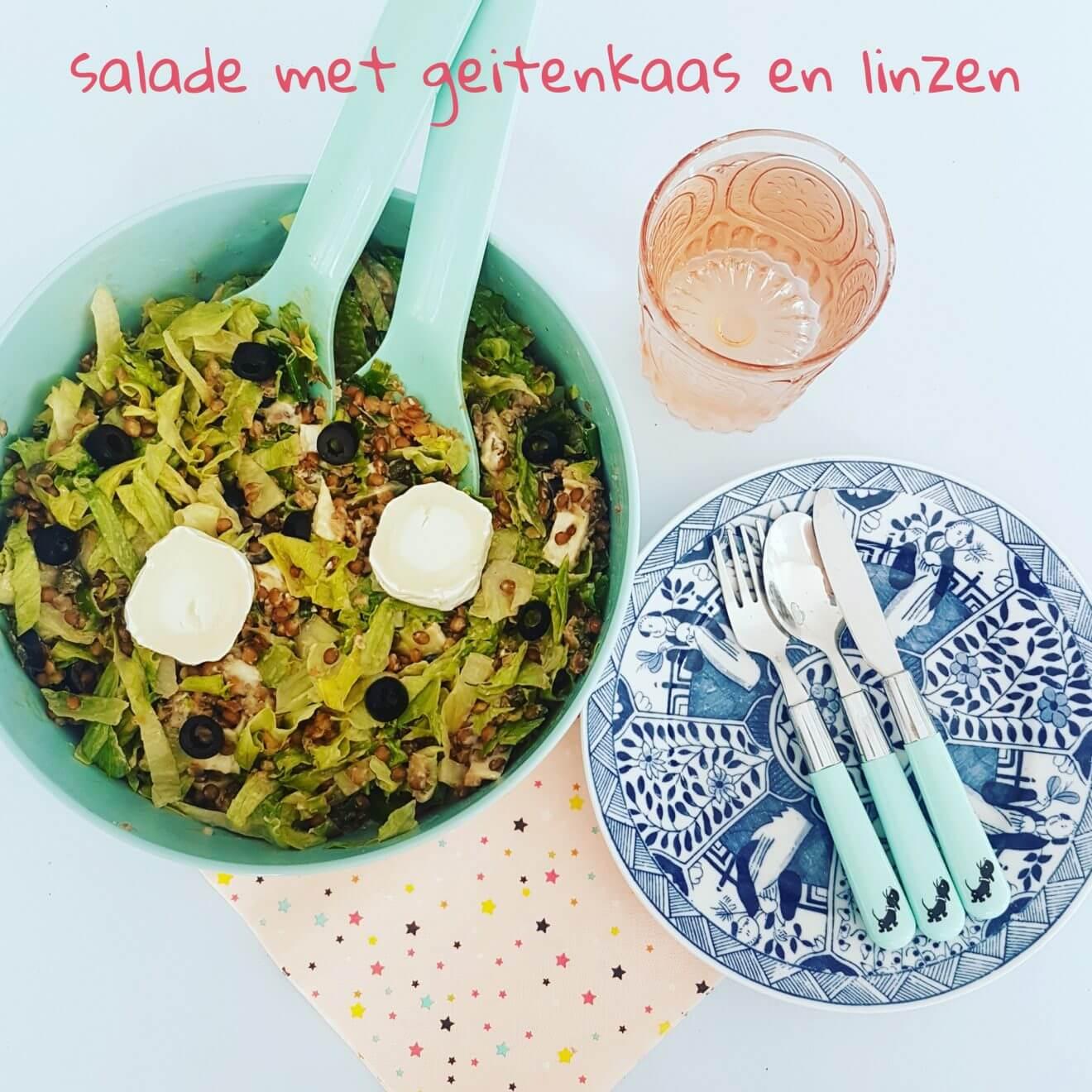 Super lekker vegetarisch recept: salade met geitenkaas en linzen