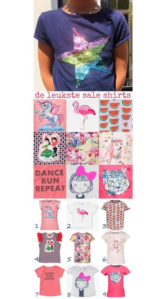 de leukste sale shirts voor meisjes #leukmetkids #kinderkleding #meisjeskleding #sale ster met omkeerpailletten, eenhoorn op wolk, aaibare flamingo, watermeloenen, flamencodansers, tropische bloemen, wolf met printjes vanBillieblush, sporty girl, meisje met strik, tijger met knipoog