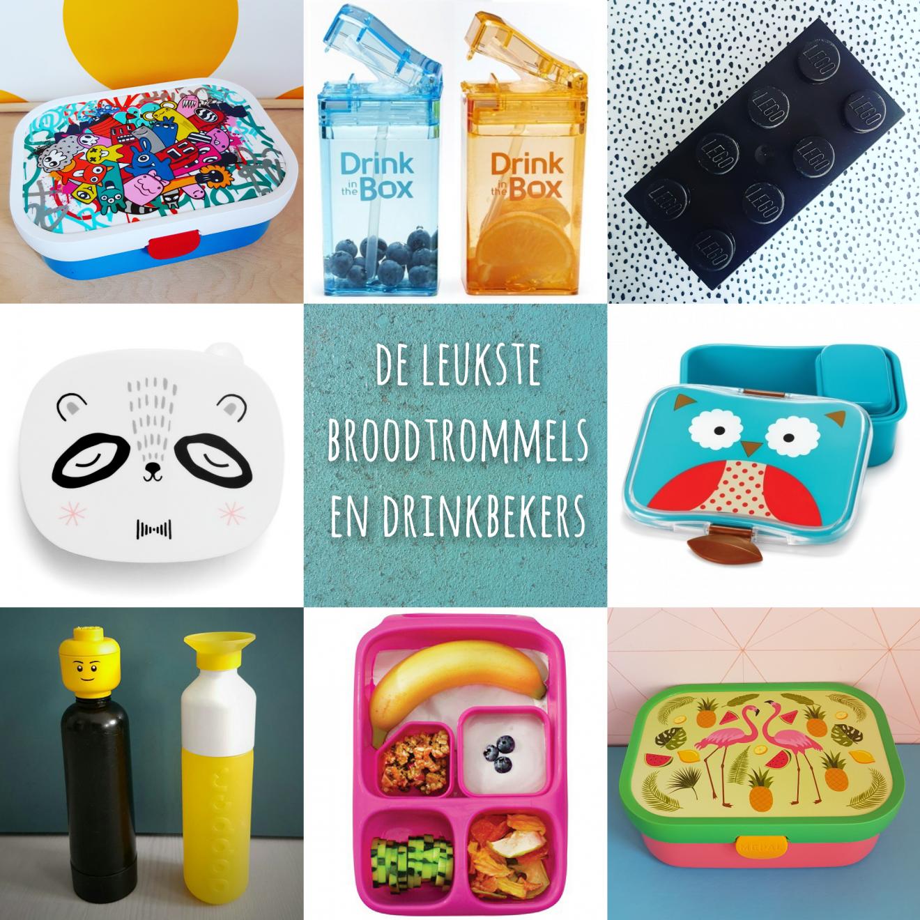 De leukste broodtrommels en drinkbekers voor school #leukmetkids #broodtrommel #lunchbox