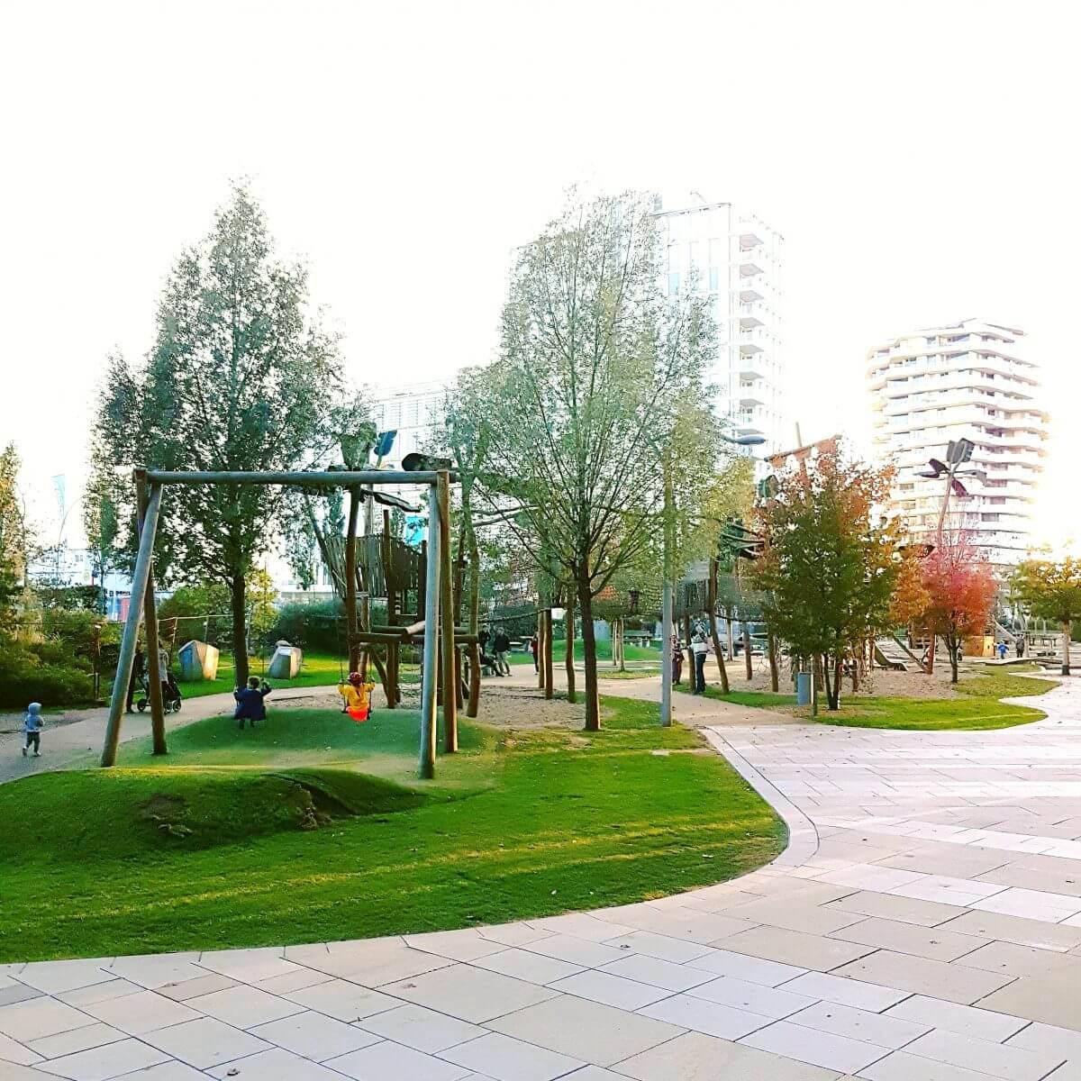 Hamburg met kids Hafencity speeltuin Grasbrookpark