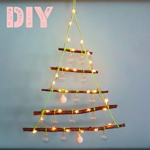Kerst DIY: alternatieve kerstboom met lichtjes knutselen van takken