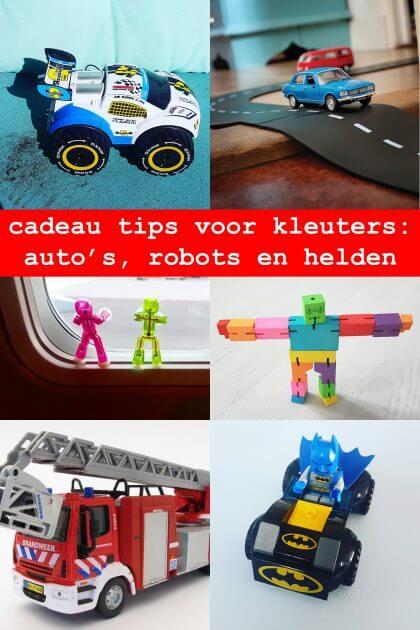 cadeau tips voor kleuters: auto's, robots en superhelden