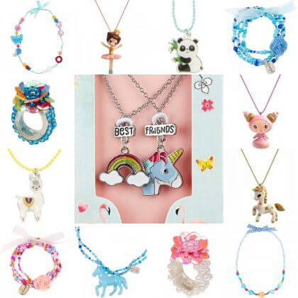 Verjaardagscadeau voor kids, voor kleuters en schoolkinderen: kettingen, ringen en armbanden