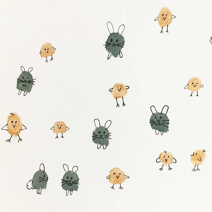 Knutselen voor Pasen en de lente: de leukste ideeën - stempelen met je vingers