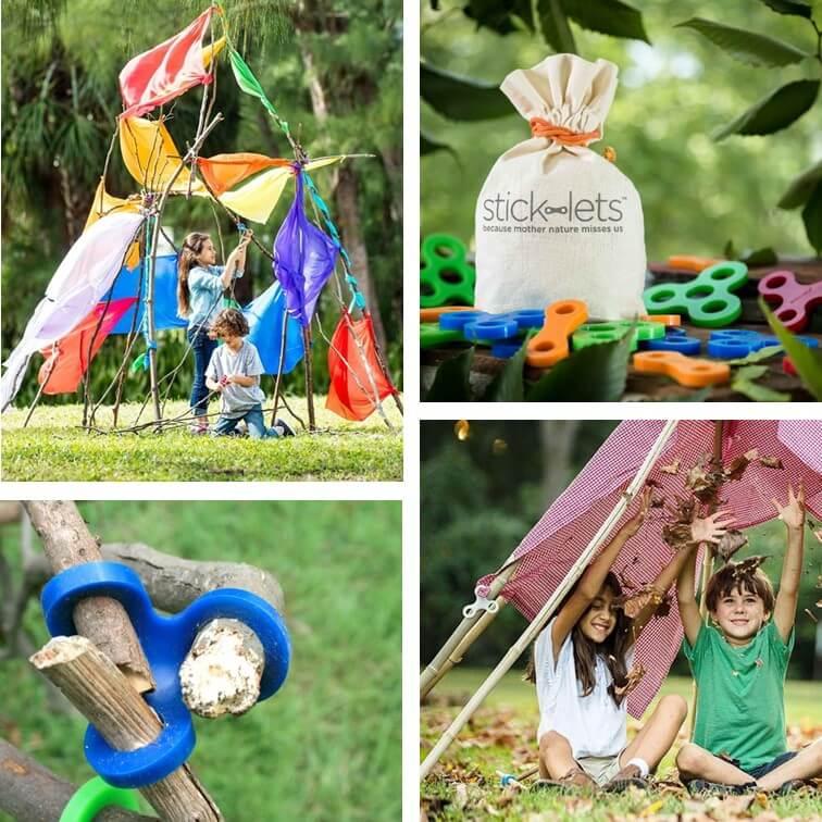 Stick-lets: buitenspeelgoed om een hut te bouwen met takken