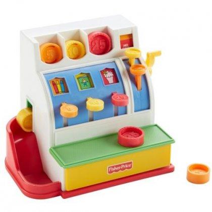 De kassa vanFisher Price is leuk om eindeloos mee te spelen. Kleintjes begrijpen het idee van geld nog niet echt, maar dat maakt helemaal niet uit.