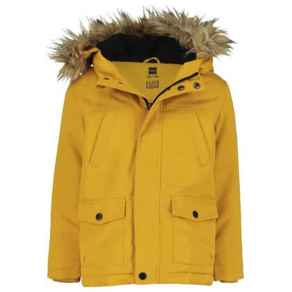 Hema winterjas jongens geel met bontkraag