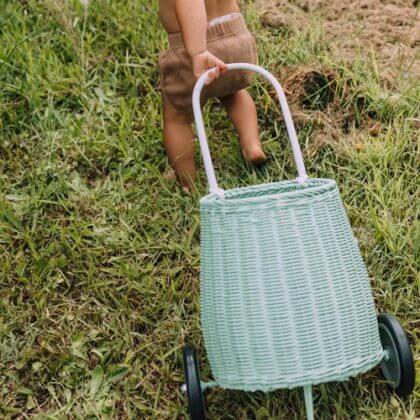 Olli Ella Luggy rieten boodschappen trolley voor kinderen