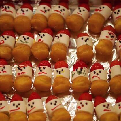 sneeuwpop voor het kerstdiner op school of thuis