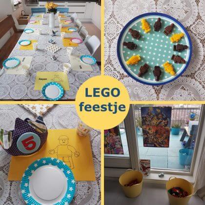 Kinderfeestje met zelfgemaakte LEGO versiering en traktatie