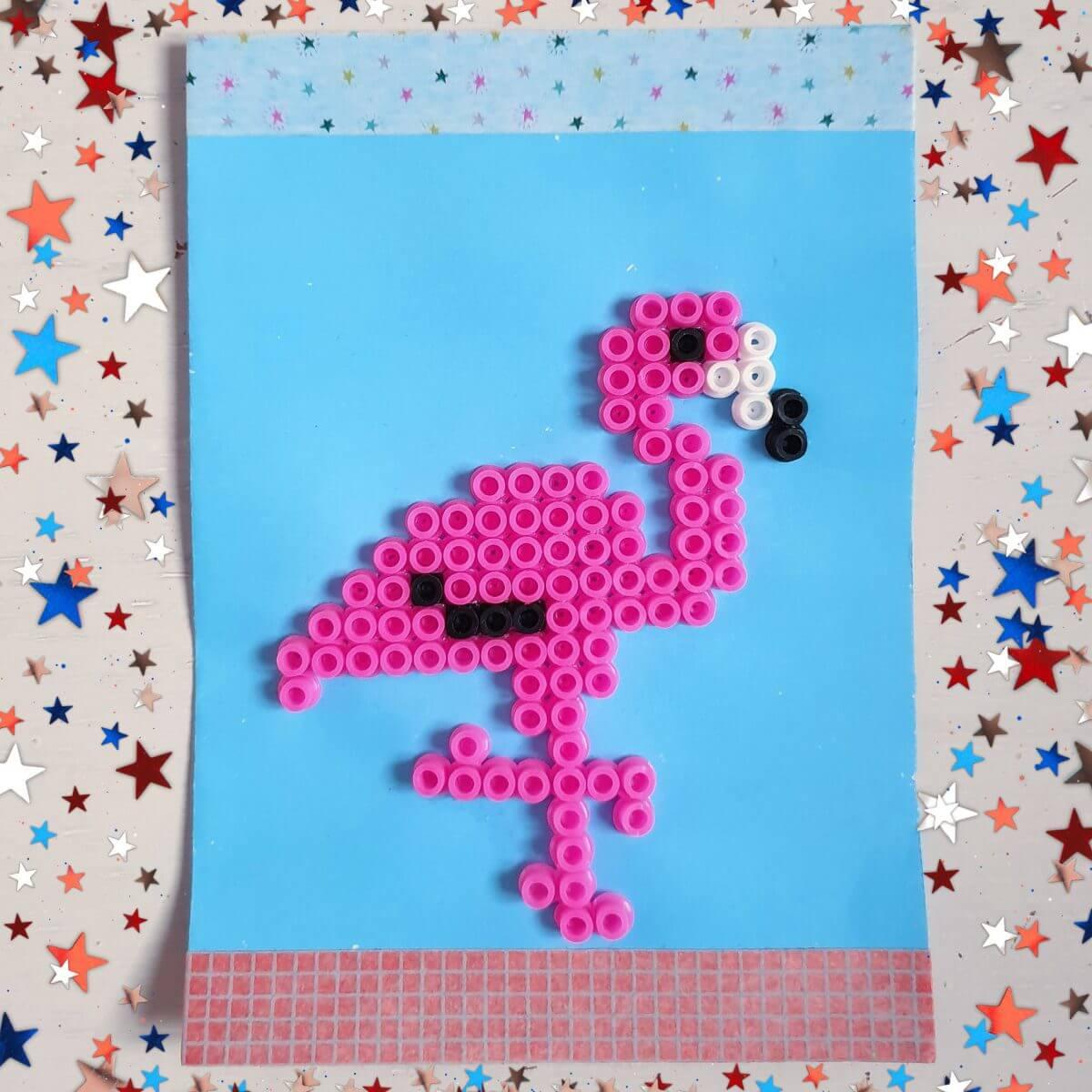 Flamingo van strijkkralen
