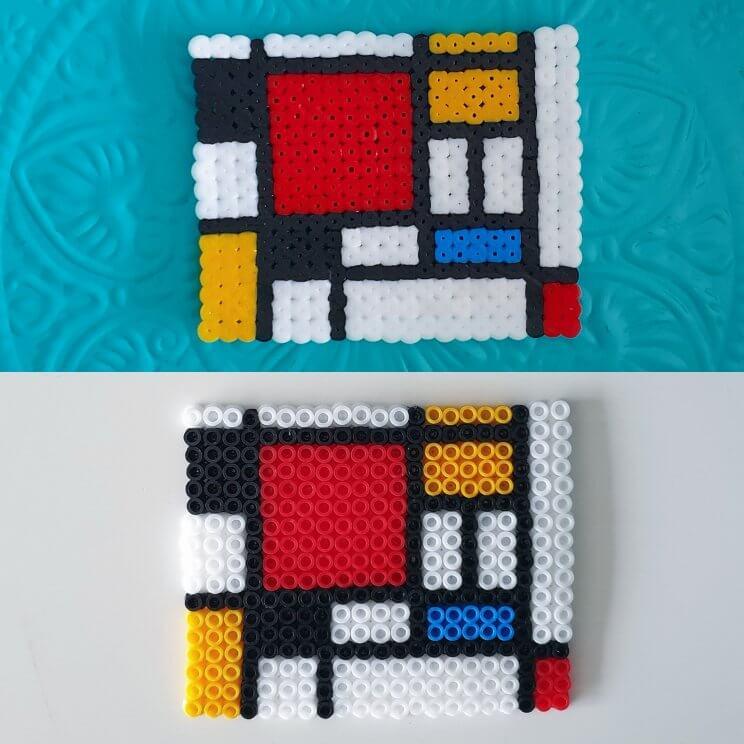 kunstwerken namaken met strijkkralen - Compositie 2 Mondriaan