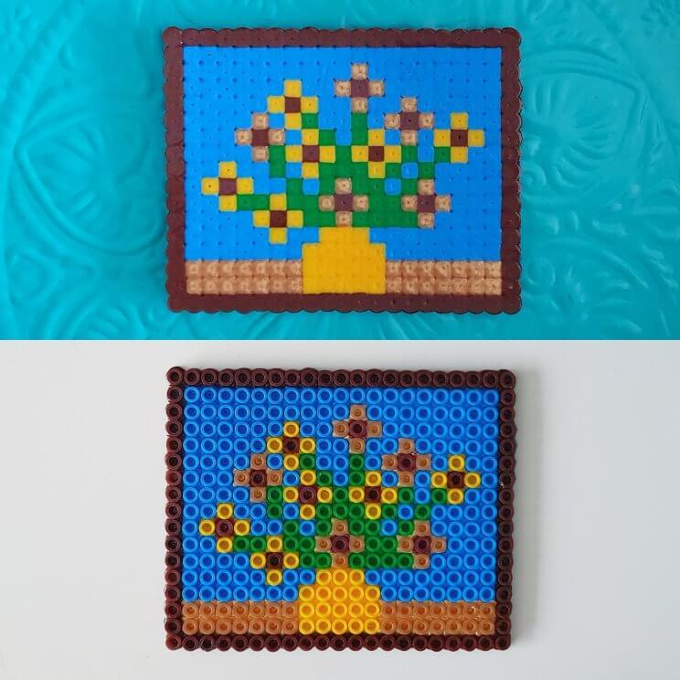 kunstwerken namaken met strijkkralen - de zonnebloemen van Vincent van Gogh knutselen