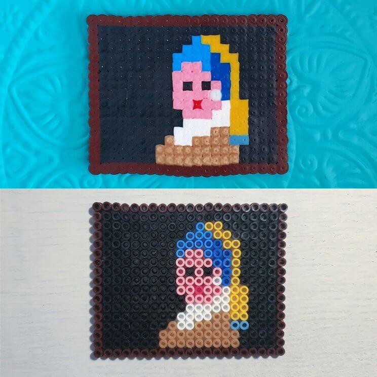 kunstwerken namaken met strijkkralen - het meisje met de parel van Vermeer