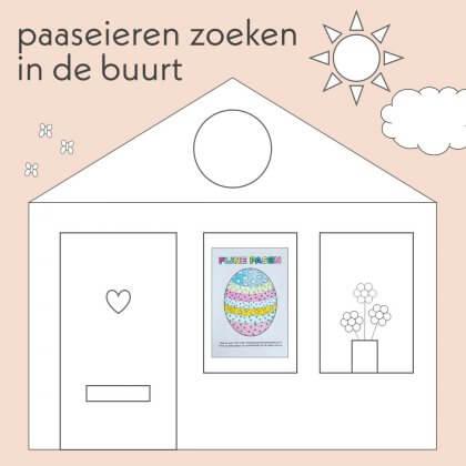 Paaseieren zoeken in de buurt: hang de kleurplaat voor je raam
