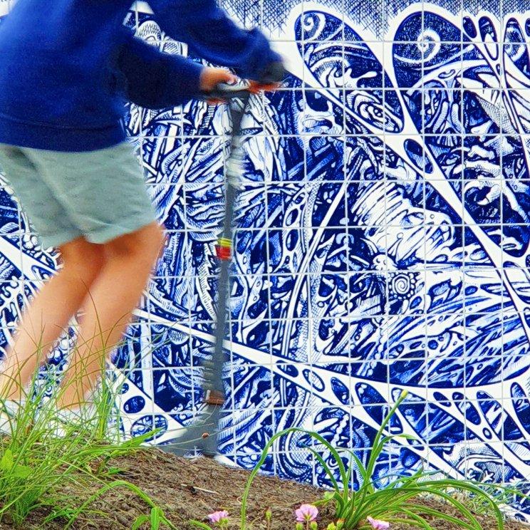 detail van de Delfts Blauwe tegels