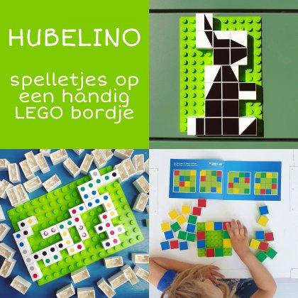 Hubelino spelletjes op een handig LEGO bordje