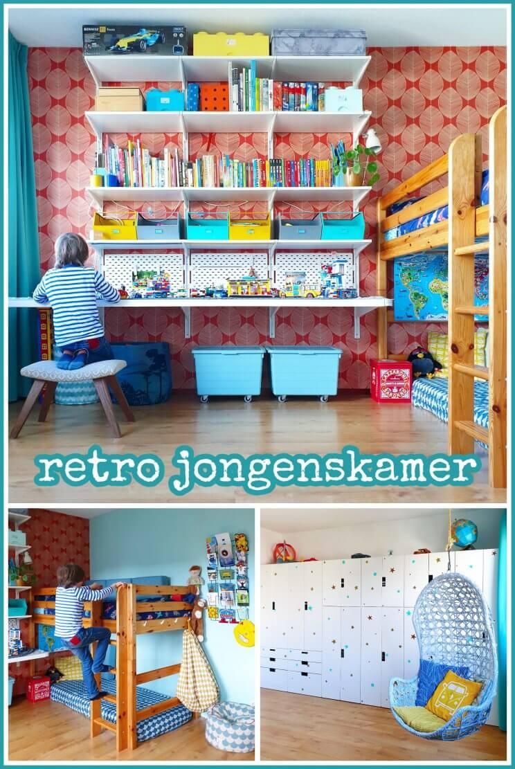 Kinderkamer inspiratie: retro jongenskamer met hout, blauw, rood en geel