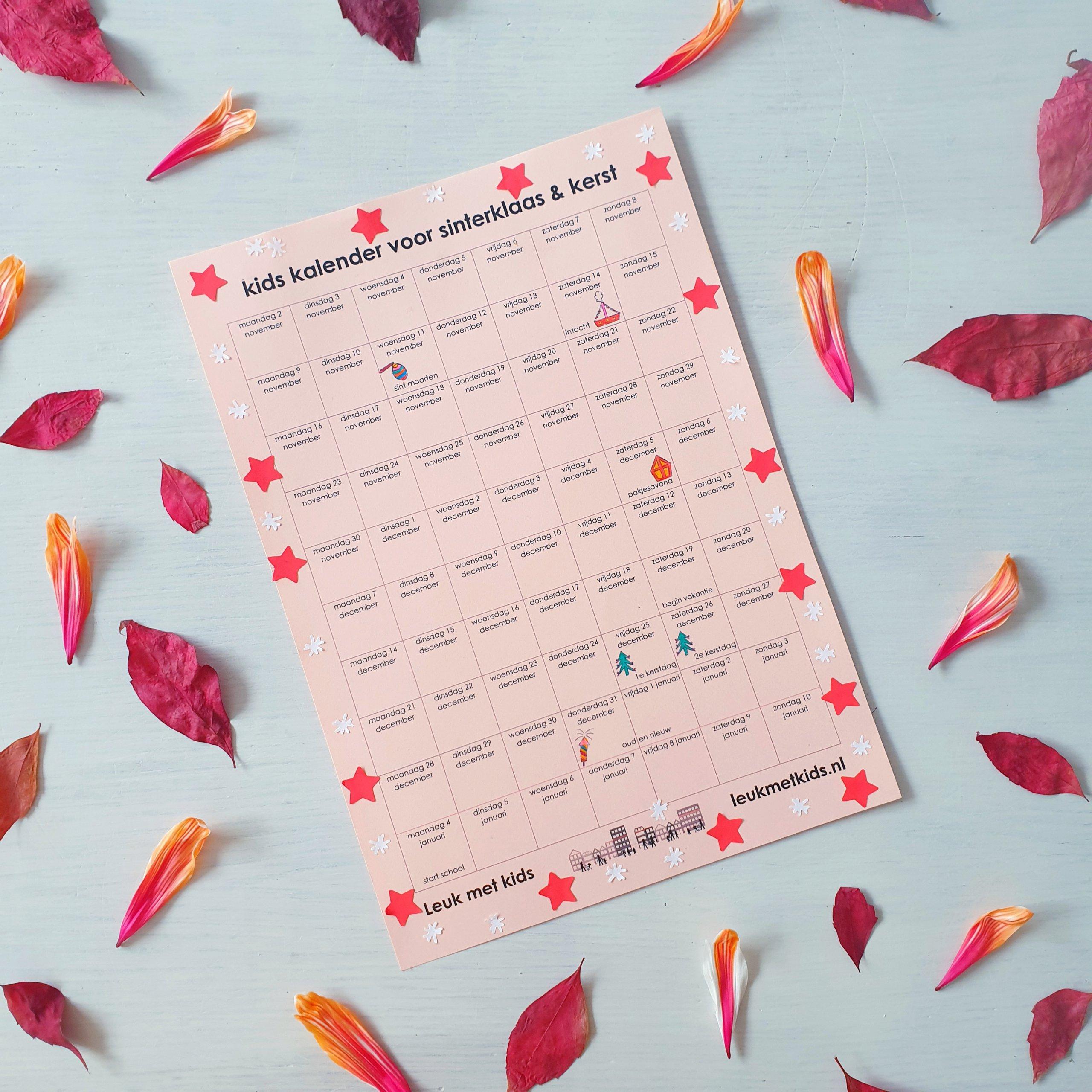 Feestdagenkalender voor Sint Maarten, Sinterklaas en Kerst