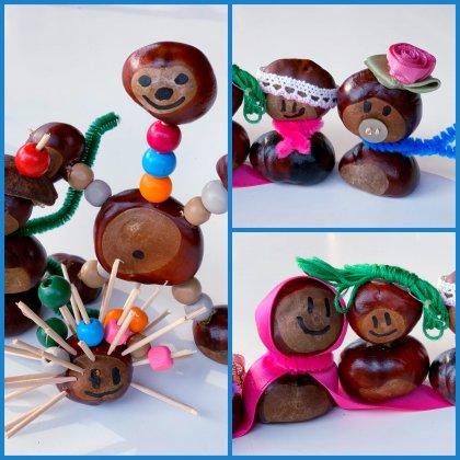 Herfst knutselen met kinderen: poppetjes van kastanjes knutselen